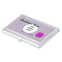Purple Clover Ribbon Template by Kenneth Yoncich Business Card Holder