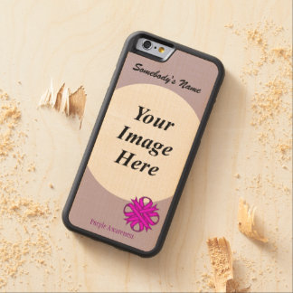 Purple Clover Ribbon Template by Kenneth Yoncich Carved Maple iPhone 6 Bumper Case