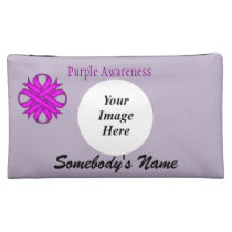 Purple Clover Ribbon Template by Kenneth Yoncich Cosmetic Bag