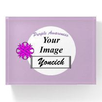 Purple Clover Ribbon Template by Kenneth Yoncich Paperweight