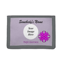 Purple Clover Ribbon Template by Kenneth Yoncich Tri-fold Wallet