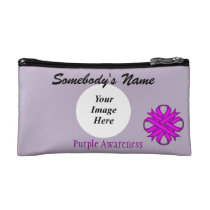 Purple Clover Ribbon Template Cosmetic Bag
