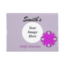 Purple Clover Ribbon Template Doormat