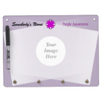 Purple Clover Ribbon Template Dry Erase Board With Keychain Holder