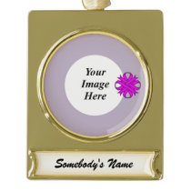 Purple Clover Ribbon Template Gold Plated Banner Ornament