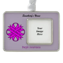 Purple Clover Ribbon Template (H-O) Christmas Ornament