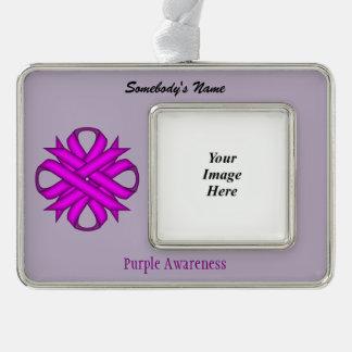Purple Clover Ribbon Template (H-O) Christmas Ornament