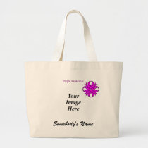 Purple Clover Ribbon Template Large Tote Bag