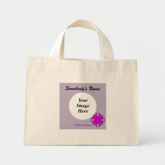Purple Clover Ribbon Template Mini Tote Bag