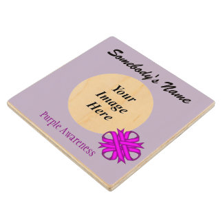 Purple Clover Ribbon Template Maple Wood Coaster