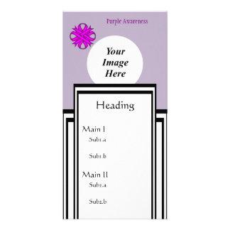 Purple Clover Ribbon Template Photo Card