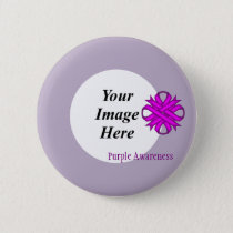 Purple Clover Ribbon Template Pinback Button