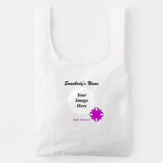 Purple Clover Ribbon Template Reusable Bag