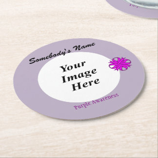 Purple Clover Ribbon Template Round Paper Coaster