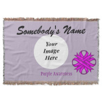 Purple Clover Ribbon Template Throw