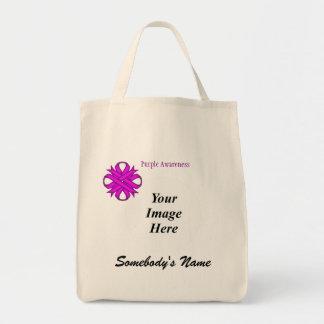 Purple Clover Ribbon Template Tote Bag