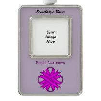 Purple Clover Ribbon Template (V-O) Silver Plated Framed Ornament