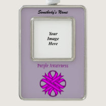 Purple Clover Ribbon Template (V-O) Silver Plated Framed Ornament