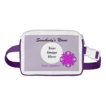 Purple Clover Ribbon Template Waist Bag