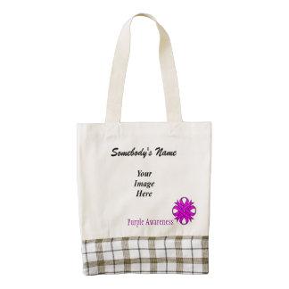 Purple Clover Ribbon Template Zazzle HEART Tote Bag
