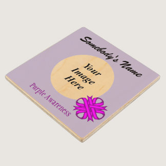 Purple Clover Ribbon Tmpl by Kenneth Yoncich Wooden Coaster