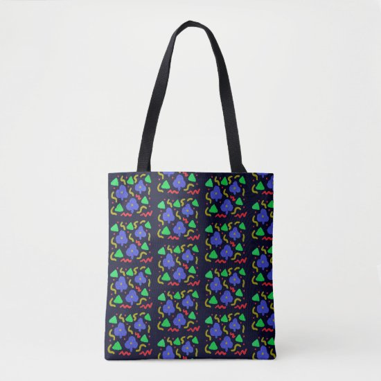 Purple Clubs and Squiggles Pattern Tote Bag