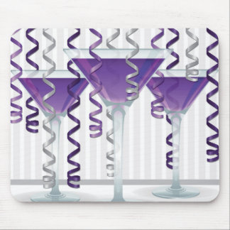 Purple cocktail and ribbon mouse pad