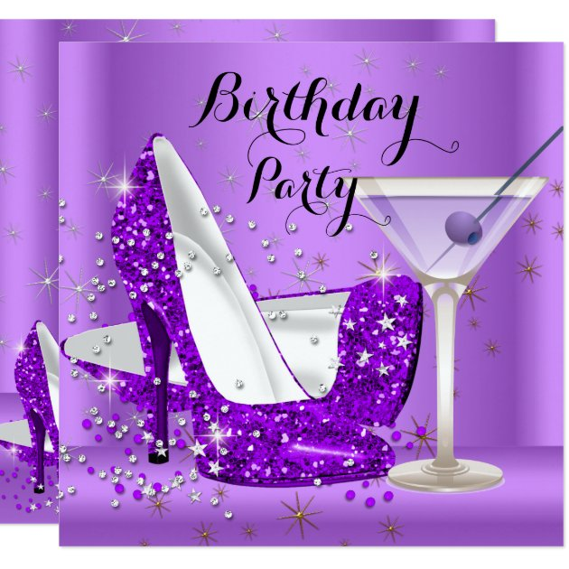 purple cocktail glitter high heels birthday party card