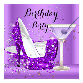 Purple Cocktail Glitter High Heels Birthday Party 5.25x5.25 Square Paper Invitation Card