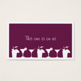 Purple cocktail wedding event custom drink ticket