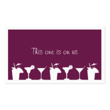 Purple cocktail wedding event custom drink ticket business card template