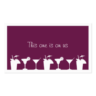 Purple cocktail wedding event custom drink ticket Double-Sided standard business cards (Pack of 100)