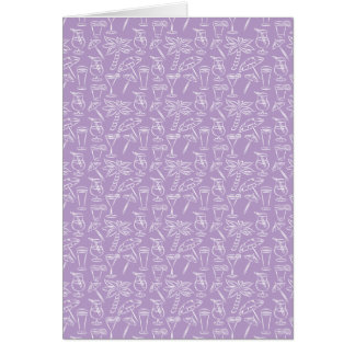 Purple Cocktails and Palm Trees Pattern Card