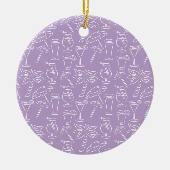 Purple Cocktails and Palm Trees Pattern Ceramic Ornament