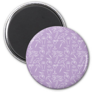 Purple Cocktails and Palm Trees Pattern Magnet