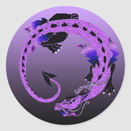 Purple Coiled Dragon Classic Round Sticker