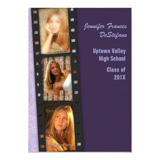Purple Color Block Grad Photo Card Invitation