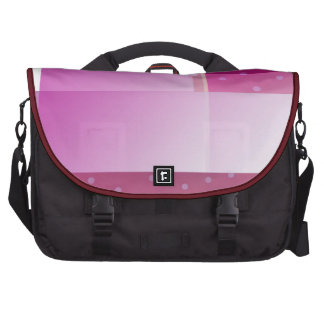Purple color blocks polka dots laptop messenger bag