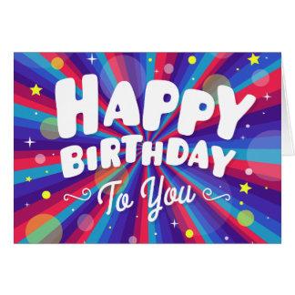 Purple Color burst happy birthday to you Card