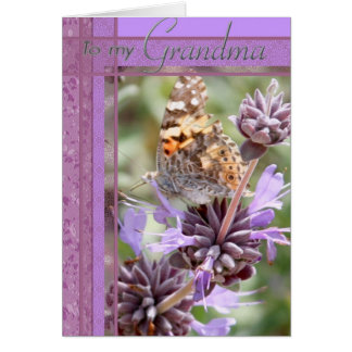 Purple Color Card with Butterly  for Grandma