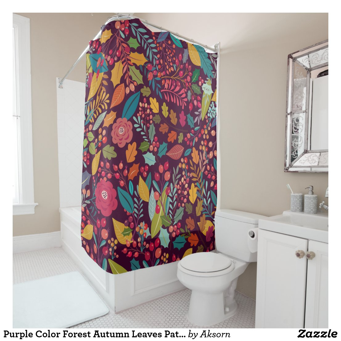 Purple Color Forest Autumn Leaves Pattern Shower Curtain