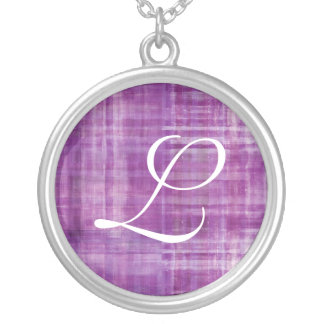 Purple Colored Art Sterling Silver Necklace Letter