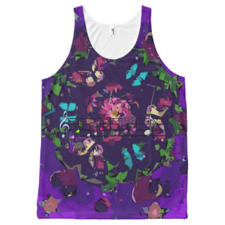 Purple Colorful Abstract Flowers & Music Tank Top All-Over Print Tank Top