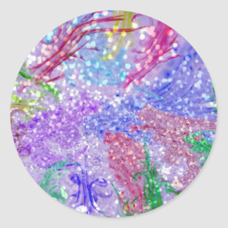 Purple Colorful Watercolor Abstract Glitter Photo Classic Round Sticker