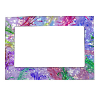 Purple Colorful Watercolor Abstract Glitter Photo Magnetic Frame
