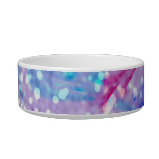 Purple Colorful Watercolor Abstract Glitter Photo Cat Bowls