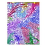Purple Colorful Watercolor Abstract Glitter Photo Postcards