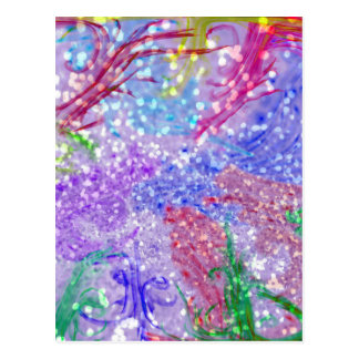 Purple Colorful Watercolor Abstract Glitter Photo Postcard