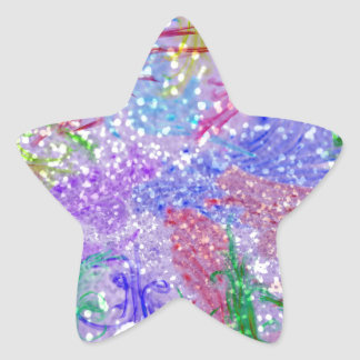 Purple Colorful Watercolor Abstract Glitter Photo Star Sticker