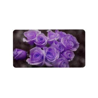 Purple colorized rose bunch address label